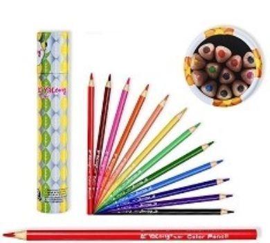 Цветные карандаши трехгранные, 12 цв.Фломастеры, цветные карандаши, краски, гуашь<br>Набор цветных карандашей.Упаковка: картонный тубус.<br><br>Год: 2016<br>Высота: 200<br>Ширина: 35<br>Толщина: 35
