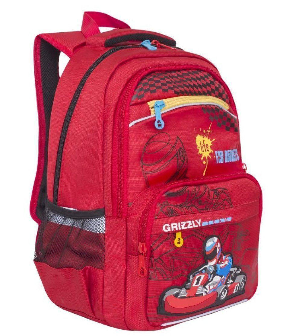 Рюкзак школьный Grizzly, красный