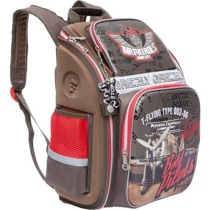 Рюкзак школьный для мальчика Grizzly, серыйРюкзаки, ранцы, сумки<br>Рюкзак молодежный, одно отделение, два объемных кармана на молнии на передней стенке, объемные боковые карманы на молнии, внутренний карман на молнии, внутренний составной пенал-органайзер, жесткая анатомическая спинка, дополнительная ручка-петля, укрепле...<br><br>Год: 2018<br>Высота: 370<br>Ширина: 300<br>Толщина: 160