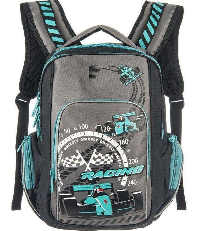 Рюкзак школьный Grizzly, черно-бирюзовый