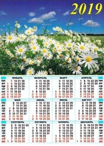Календарь настенный листовой Ромашки 2019