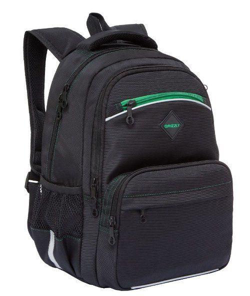 """Рюкзак школьный """"Grizzly"""", черно-зеленый"""