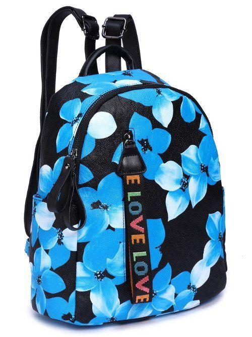 """Рюкзак женский """"Grizzly"""", синие цветы на черном"""