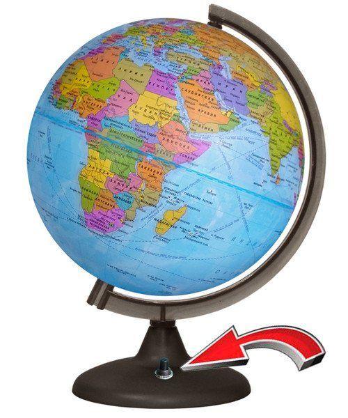 Глобус политический, с подсветкой от батарейки, 250 мм