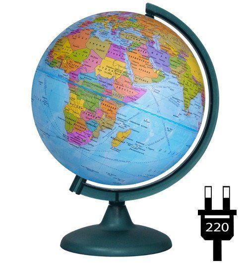 Глобус физико-политический, двойная карта, с подсветкой, 250 мм