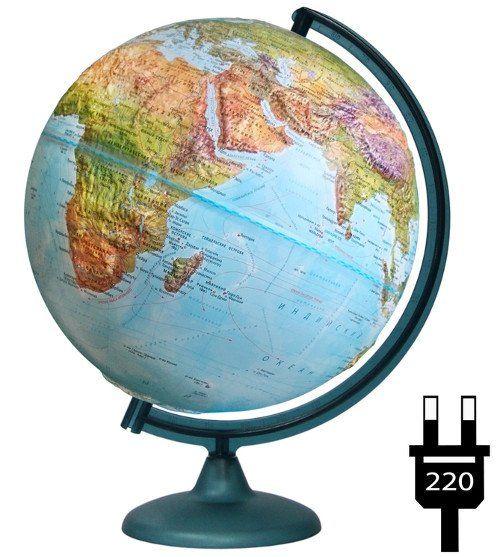 Купить со скидкой Глобус ландшафтный, географический, рельефный, с подсветкой, 320 мм