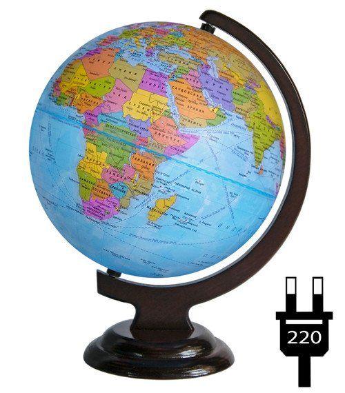 Глобус политический, на деревянной подставке, с подсветкой, 250 мм