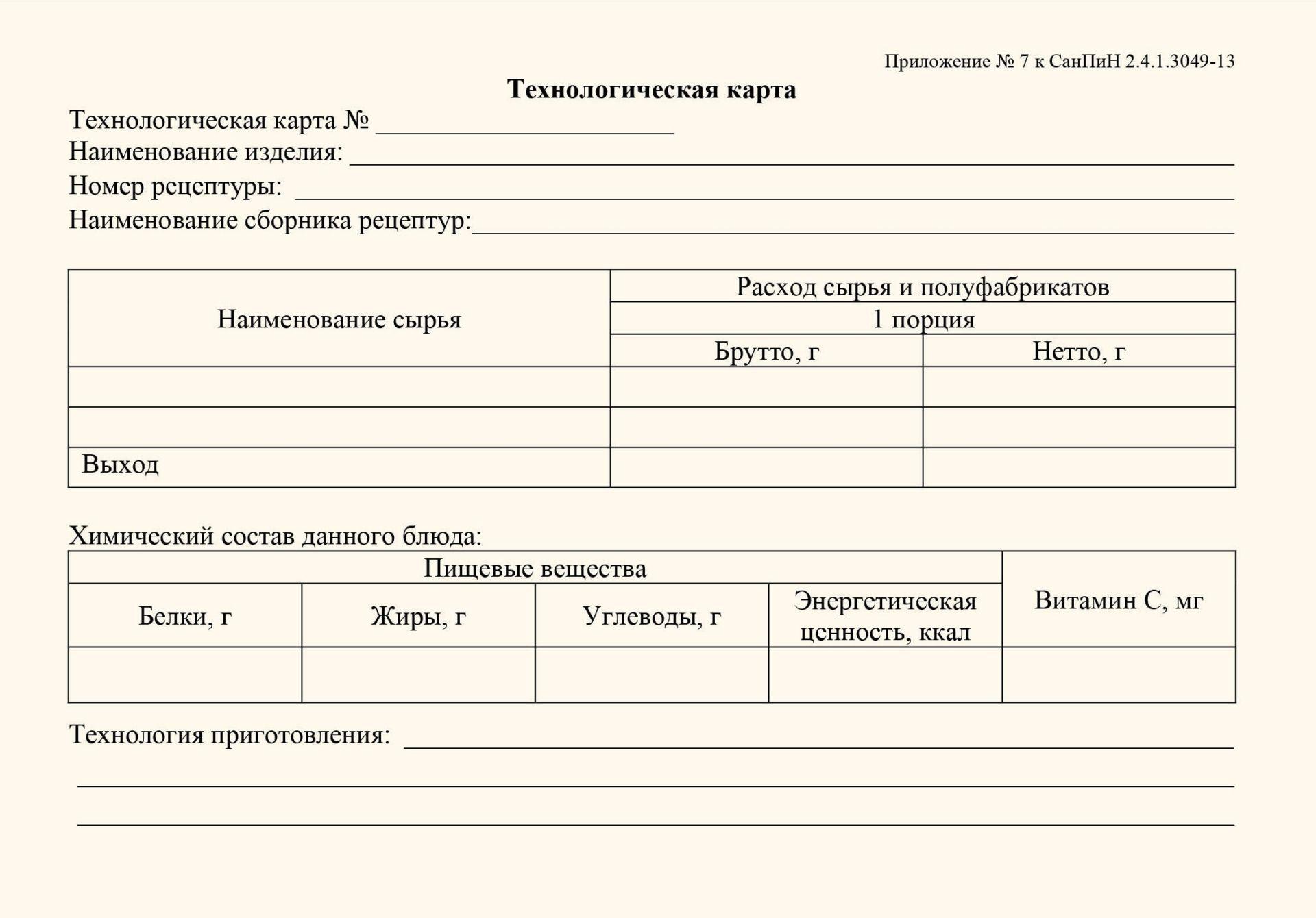 Технологическая карта (соответствует Приложению №7 СанПиН 2.4.1.3049-13): (упаковка 100 шт.)