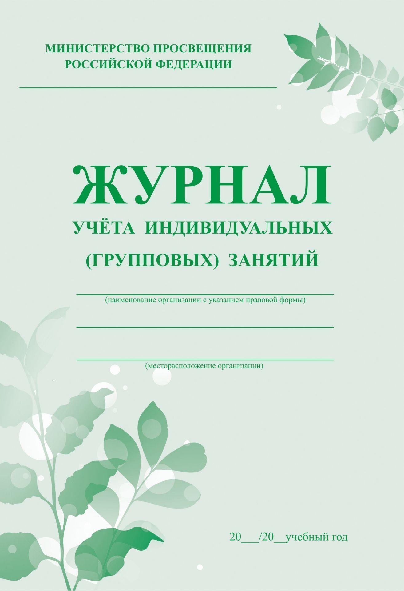 Журнал учёта индивидуальных (групповых) занятий