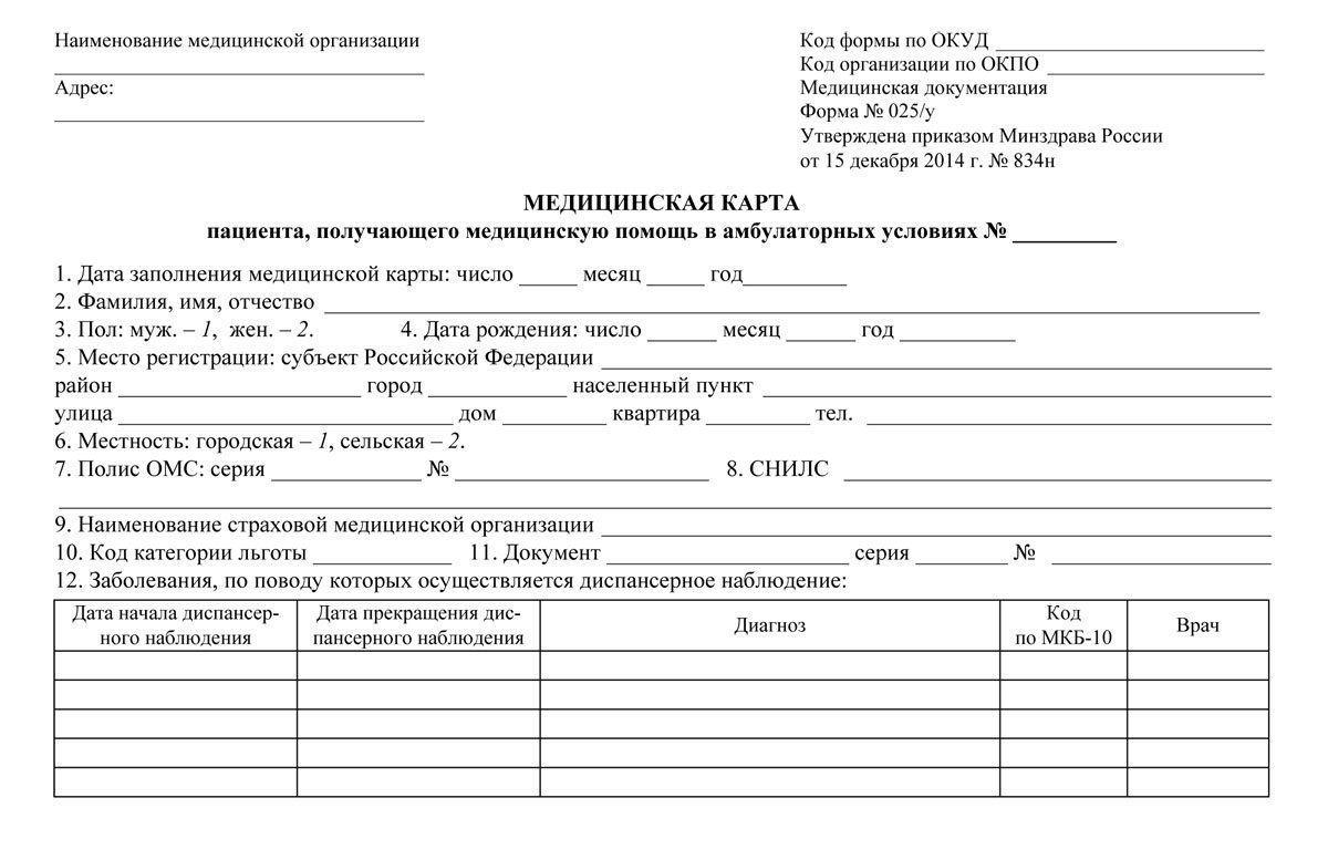 Медицинская карта пациента, получающего медицинскую помощь в амбулаторных условиях №_: форма №025/у от 15 декабря 2014 г. №834