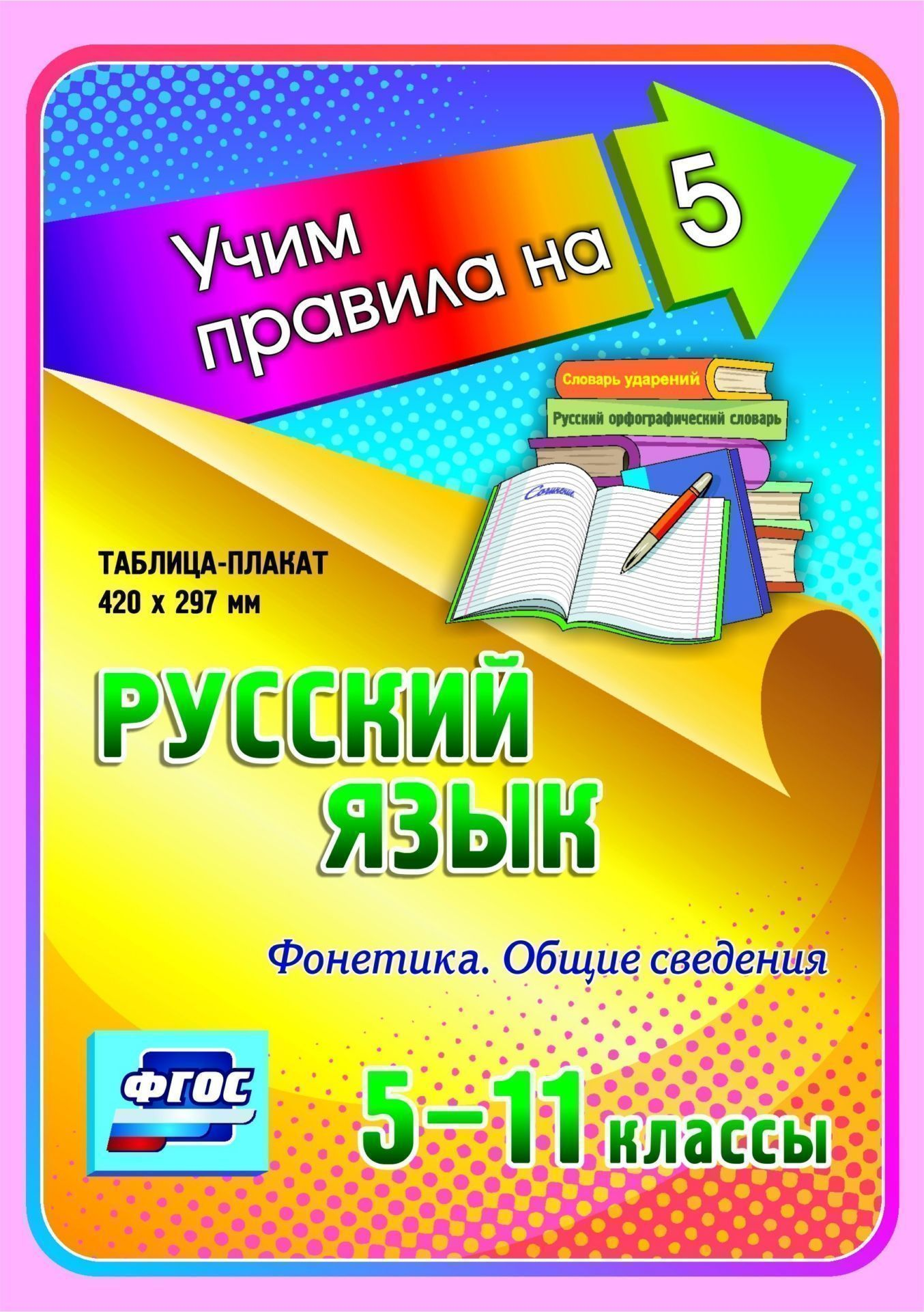 Русский язык. Фонетика. Общие сведения. 5-11 классы: Таблица-плакат 420х297