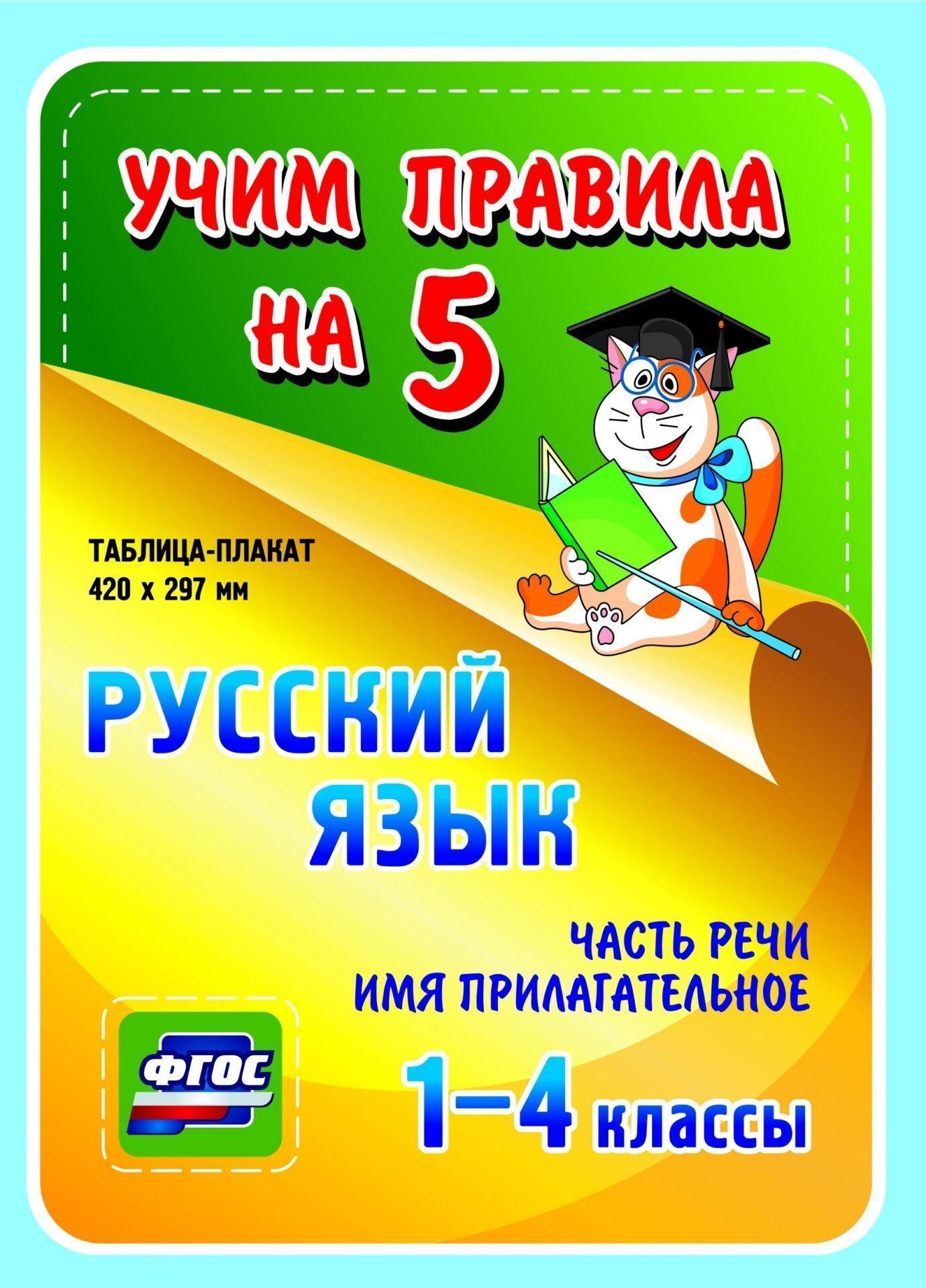 Русский язык. Часть речи. Имя прилагательное. 1-4 классы: Таблица-плакат 420х297
