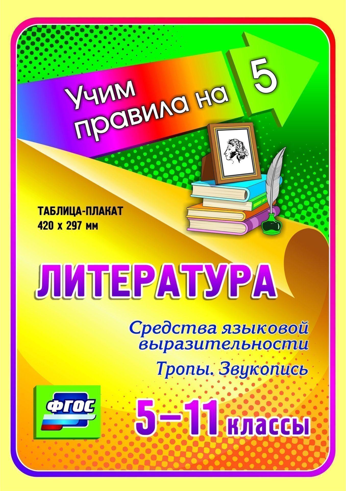 Литература. Средства языковой выразительности. Тропы. Звукопись. 5-11 классы: Таблица-плакат 420х297