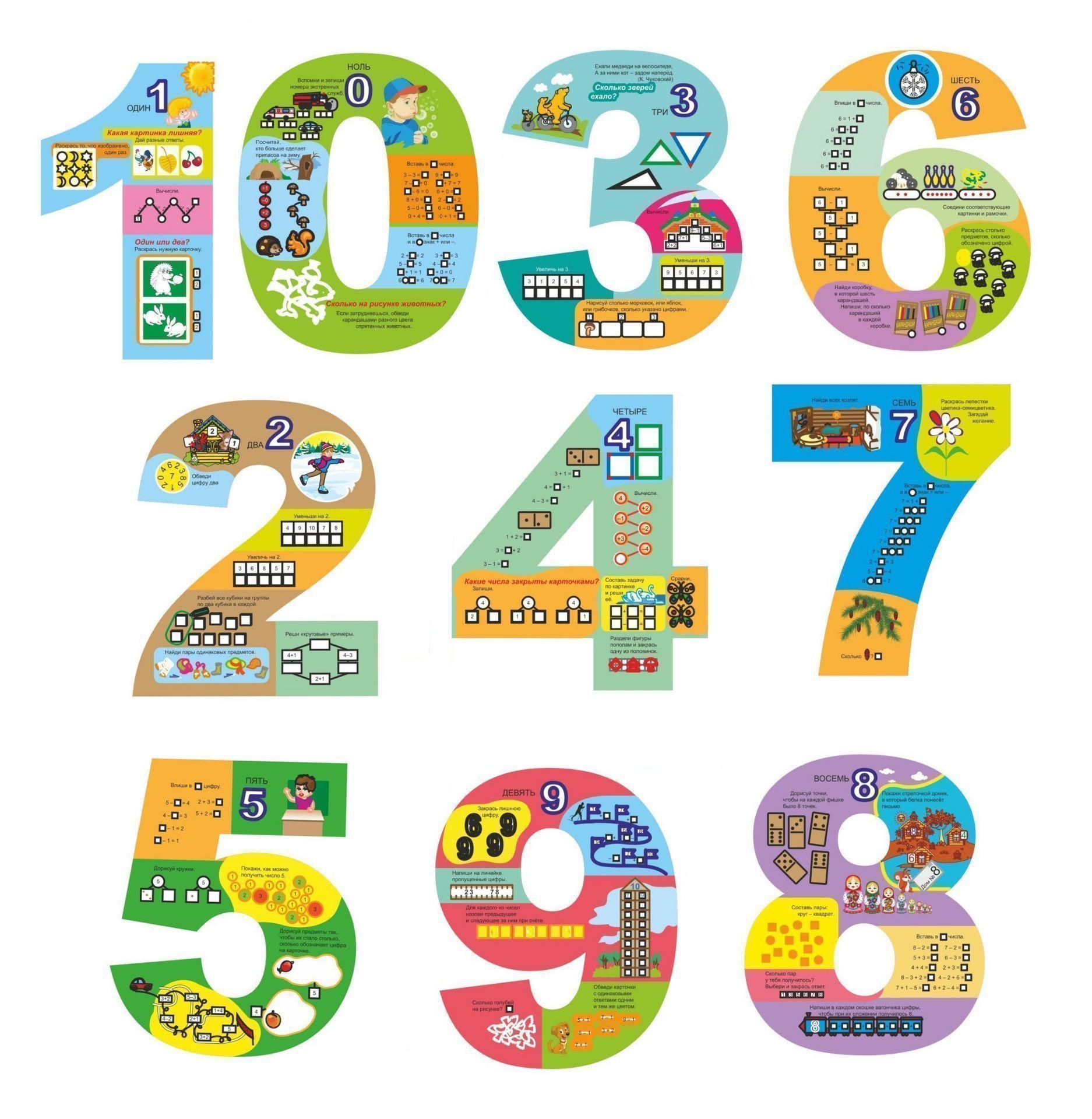 Двухсторонние цифры от 0 до 9 с развивающими заданиями, примерами, прописями