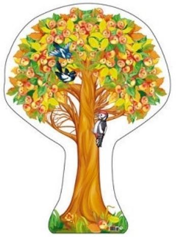 Плакат вырубной Яблоня осенняя с яблокамиВырубные фигуры<br>.<br><br>Год: 2018<br>Высота: 500<br>Ширина: 350<br>Толщина: 1