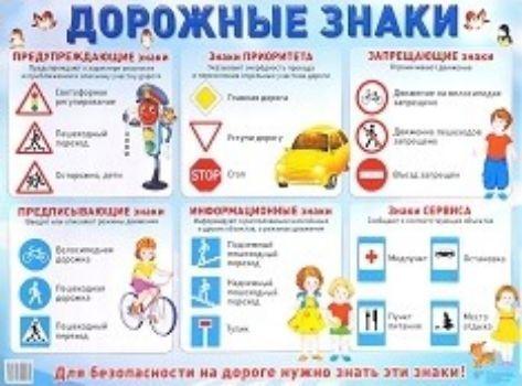 Плакат Дорожные знакиОформительские плакаты<br>Демонстрационный плакат.Формат А2.Материал: картон.<br><br>Год: 2018<br>Высота: 490<br>Ширина: 690<br>Толщина: 1