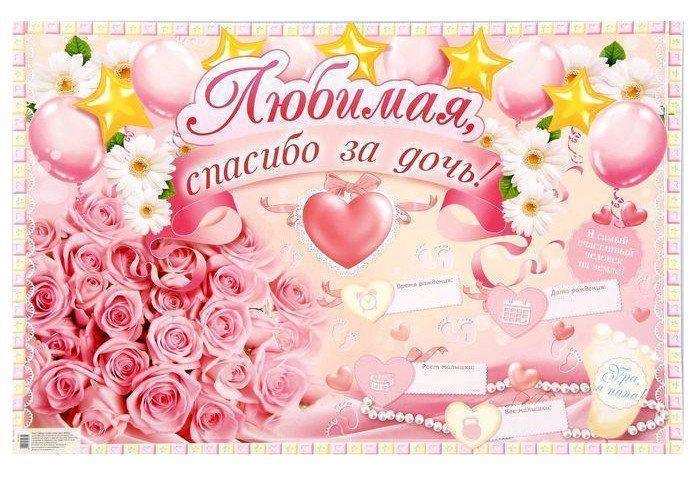 Плакат Любимая, спасибо за дочь!Оформительские плакаты<br>Материал: картон.<br><br>Год: 2018<br>Высота: 400<br>Ширина: 600<br>Толщина: 1
