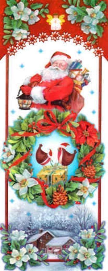 "Новогодние наклейки на окна ""Дед Мороз с фонариком"""