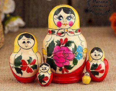 """Матрёшка """"Семёновская"""", жёлтый платок, 5 кукольная"""