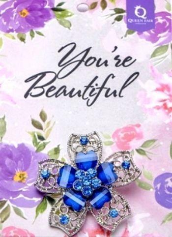 """Брошь """"Цветок"""" с сердечками, синяя, в серебре"""
