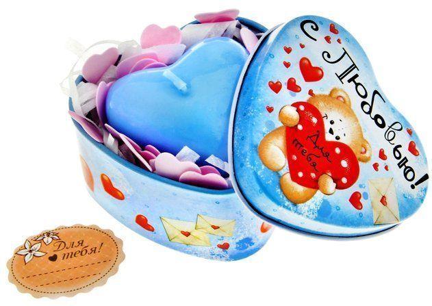 Набор мыло сердце розовое в шкатулке-сердце Мишка