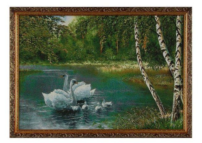 "Картина гобеленовая ""Белые лебеди у берёзок"""