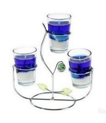 """Подсвечник """"Фантазия"""", 3 свечи, синий"""