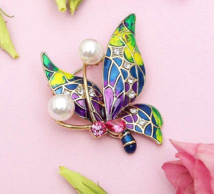 Брошь Бабочка абстракция, разноцветная, в золоте