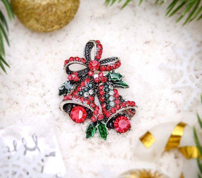Брошь Новогодняя сказка, колокольчики рождественские, в черненом серебре