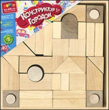 Конструктор деревянный неокрашенный Городок, 40 деталей