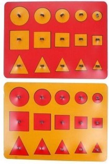 Рамки-вкладыши М.Монтессори Больше-меньше, миксДеревянные игрушки<br>Рамки - вкладыши помогут изучить геометрические фигуры, размер (больше-меньше), разовьют глазомер и координацию движений рук. Ребенок научится соотносить предметы по форме и размеру, расширит словарный запас и кругозор. Вкладыши можно обводить на бумаге и...<br><br>Год: 2016<br>Высота: 240<br>Ширина: 315<br>Толщина: 10