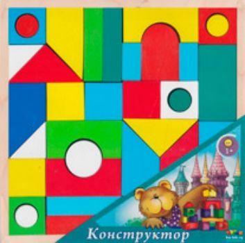 Конструктор деревянный окрашенный Городок, 40 деталей.  Для детей 2-7 лет