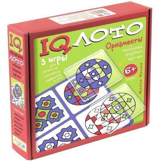 Набор настольных игр IQ лото. ОрнаментыЛото<br>Набор настольных игр Орнаменты включает в себя более 50 пластиковых прозрачных карт, 9 двусторонних карт-основ, блокнотик и цветные мелки Erich Krause. Благодаря этому набору дети смогут играть в 3 игры: - головоломка, в которой нужно составлять орнамен...<br><br>Год: 2017<br>Высота: 205<br>Ширина: 240<br>Толщина: 60