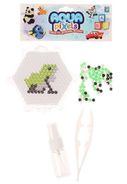 Набор для творчества Aqua pixelsУкрашения своими руками<br>Игровой набор для детского творчества.В набор входит: 61 бусина, трафарет, основа, брызгалка, щипцы.Для детей от 6 лет.<br><br>Год: 2017<br>Высота: 160<br>Ширина: 120<br>Толщина: 30