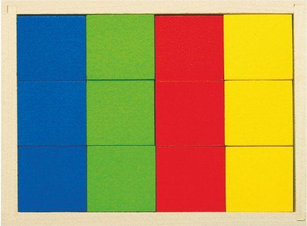 Набор цветных деревянных кубиков, 4 цвета, 12 шт.