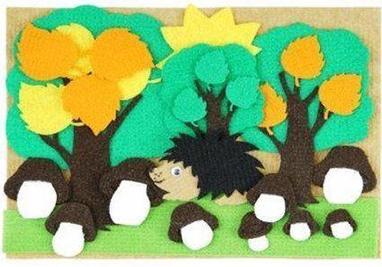 Три дерева. Веселые липучки. Развивающая игра из ковролина с мини-игровым полем