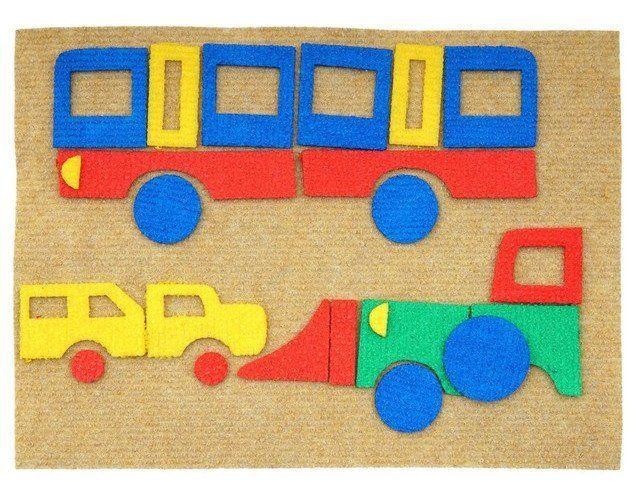 Транспорт. Веселые липучки. Развивающая игра из ковролина