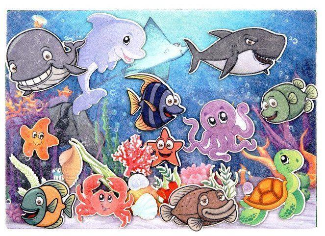 Подводный мир. Веселые липучки. Развивающая игра из фетра