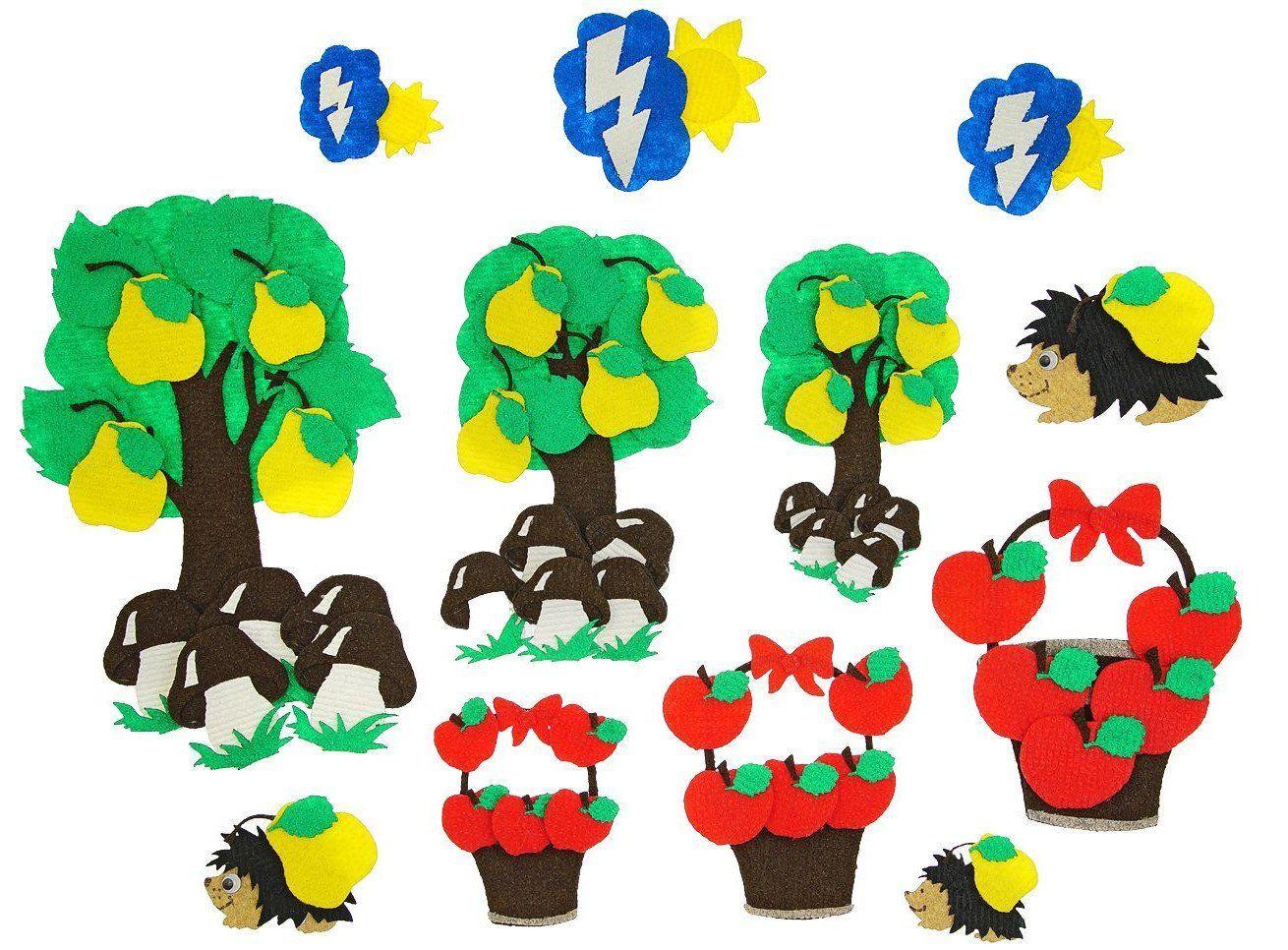 Три дерева. Веселые липучки. Развивающая игра из ковролина
