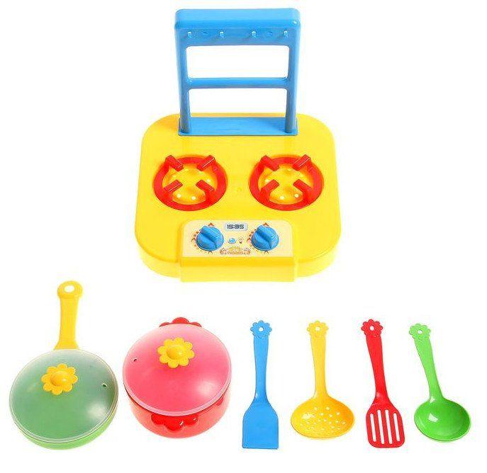 Набор посуды столовый Ромашка с плиткой, 6 предметов, микс