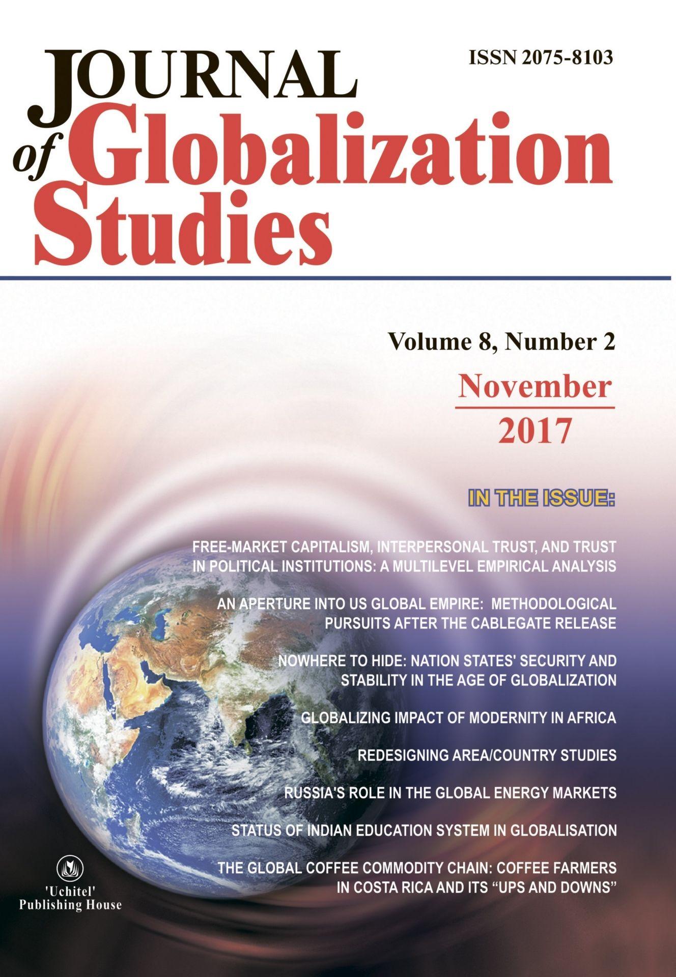 Journal of Globalization Studies Volume 8, Number 2, 2017 г. Журнал глобализационных исследований Международный журнал на английском языке