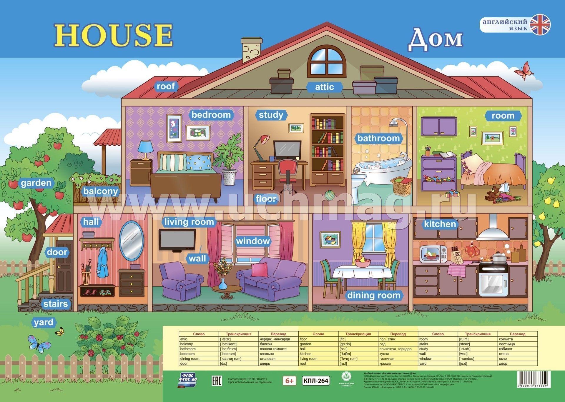 Учебный плакат. Английский язык. House. Дом: Формат А2 ...