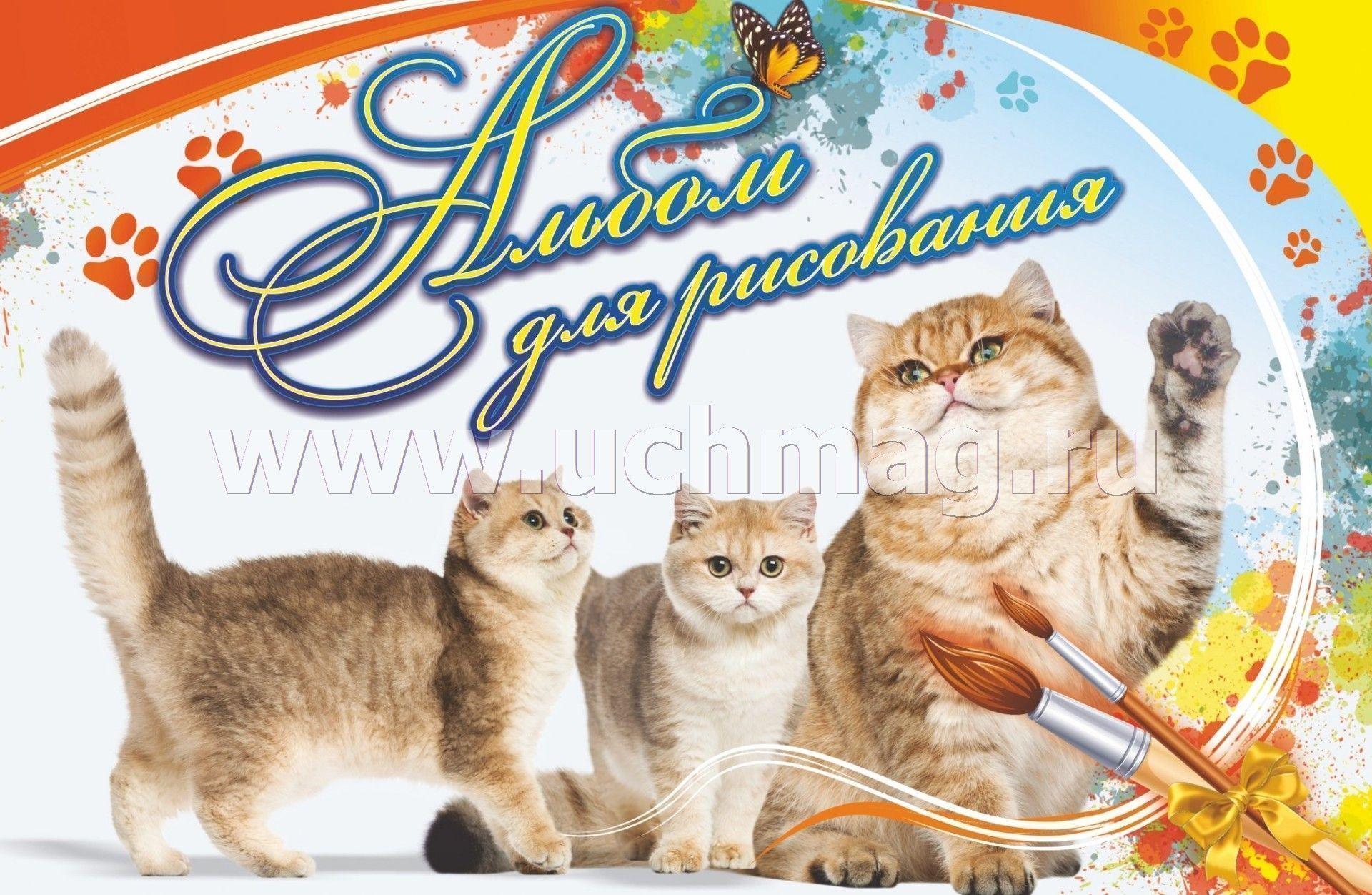 """Альбом для рисования """"Кошка с котятами"""" – купить по цене ..."""