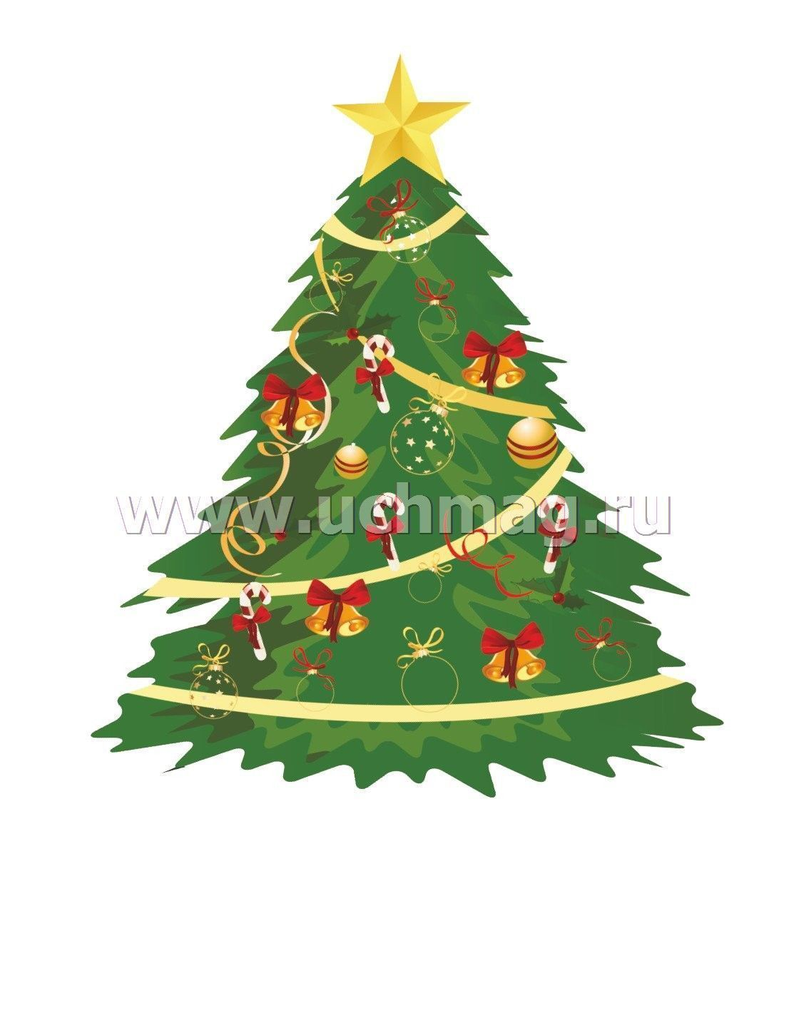 "Мини-плакат вырубной ""Новогодняя елочка"": 85х105 мм ..."